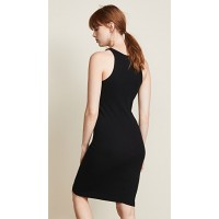 RE DONE Ribbed Tank Dress Black Fabric Ribbed knit Pullover style XOUJPJR