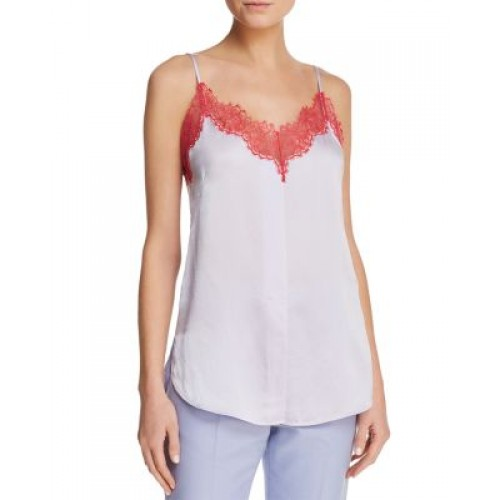 Sandro Perrine Lace-Trimmed Cami - 100% Exclusive Red lace-trimmed V-neck sleeveless adjustable spaghetti straps 2850705 OPJFAKY