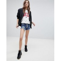 Signature 8 Festival Denim Shorts with Exposed Contrast Zip Mid-rise waist 1228424 XINXLMH