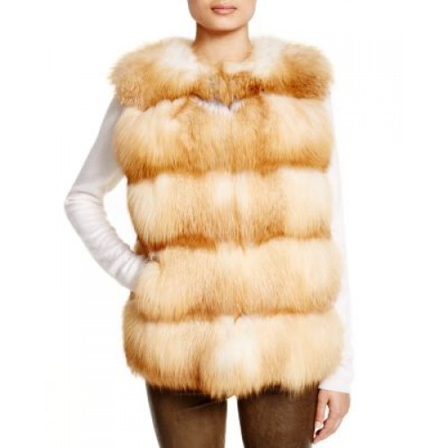 Maximilian Grooved Nafa Fox Vest - Bloomingdale's Exclusive Grooved two slit side pockets lined 1429677 NWTOPED