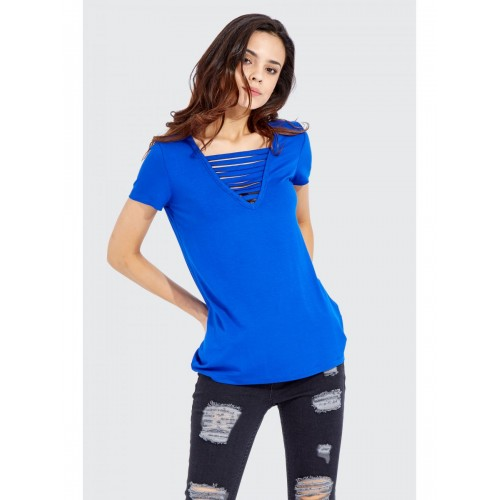 Women Clothing MULTI STRAP FRONT OVERSIZED T-SHIRT S046/1401/053 NEWCOBALTBLUE ERWBBAX