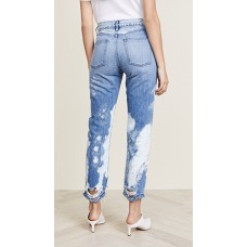 3x1 Higher Ground Crop Jeans Marble Fabric Non-stretch denim Shredded holes at cuffs PTLWDFS