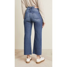 7 For All Mankind Cropped Alexa Trouser Jeans Luxe Vintage Femme Fabric Stretch denim Whiskering details OWLNOBU