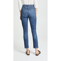 AGOLDE Nico High Rise Slim Fit Jeans Subdued Fabric Stretch denim Distressing at pockets IJRUIQZ