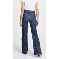 AO.LA by alice + olivia Gorgeous High Rise Trouser Jeans with Exaggerated Hem So Clever Fabric Stretch denim Layered raw hem YYTURDM