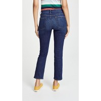 FRAME Le High Straight Jeans York Fabric Lightweight stretch denim Whiskered OQSNWFO