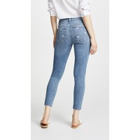 Joe's Jeans Icon Cropped Skinny Jeans Priscilla Fabric Stretch denim Embroidered daisies IRLLBNH