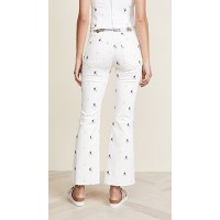 Miaou Mimi Flare Jeans White Flower Embroidery Fabric Stretch twill Optional metal belt with articulated links CAXZIIV