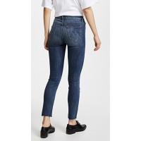MOTHER High Waisted Looker Ankle Fray Jeans Not Rough Enough Fabric Stretch denim Raw cuffs EQJGLPE