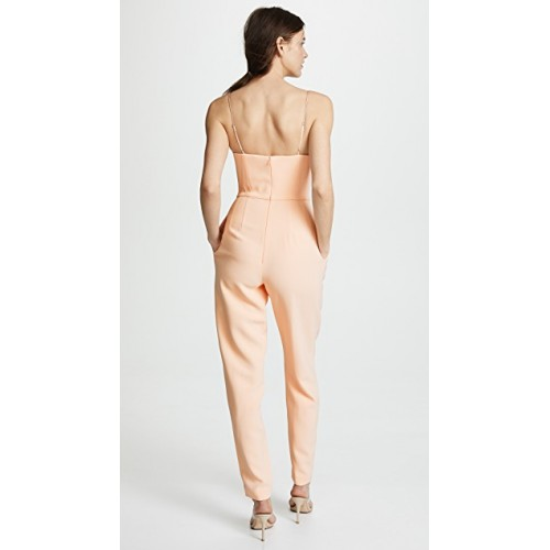 Adam Lippes Bustier Jumpsuit Peach Fabric Stretch crepe Boned bodice with underwire cups XMPIMVM