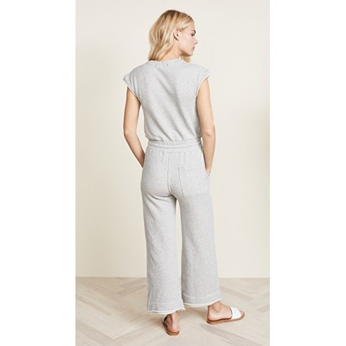 AMO Farrah Jumpsuit Heather Grey Fabric French terry Raw double-layered arm openings and cuffs JPVKYLU