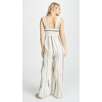 Free People Breezin Through Striped Jumpsuit Beige Fabric Gauze Twisted knot between cups JXKWKGX