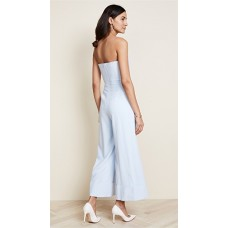 Julianna Bass Carine Jumpsuit Slate Fabric Stretch crepe suiting Sweetheart neckline with tan-colored mesh panel VVHKHEZ