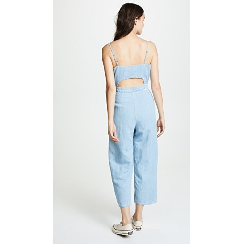 MOTHER The Cut It Out Jumpsuit Songbird Fabric Chambray Cutout at back DNYEMQQ
