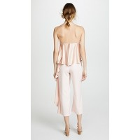 ONE by Mestiza New York Jacqueline Cropped Jumpsuit with Ruffle Millennial Pink Fabric Stretch weave Loose ruffle overlay at bodice & side YHHCMAM