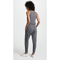 SUNDRY Henley Jumpsuit Pigment Charcoal Fabric Slubbed jersey Elastic waistband with drawstring ties FFNGNVZ