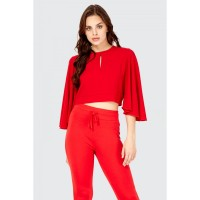 Women Clothing TIE BACK SLIT 3/4 SLEEVE TOP  S047/0103/044_RED ISZQCXY