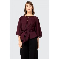 Women Clothing TIE FRONT 3/4 SLEEVE BLOUSE  S048/0101/018_PLUM JYMQZHW
