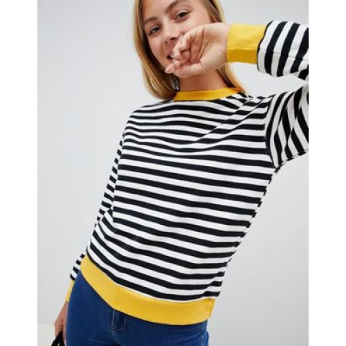 Bershka black and white striped jumper with contrast edge in multi Striped design 1332793 JPXREWG
