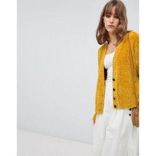 DESIGN Cropped Cardigan In Chenille With Buttons Throw this on when the temperature dips 1254765 GBMFVZH