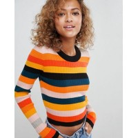 DESIGN ribbed jumper in fine knit in stripe Surprise your monochrome palette with this 1242636 VRUWBTU