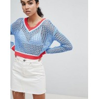 Glamorous Cricket Jumper With Contrast Trims In Loose Knit V-neck 1266727 KLLYBXH