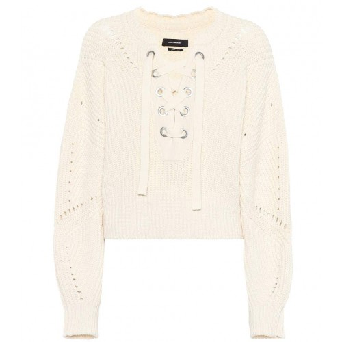 Isabel Marant Laley lace-up sweater material 55% cotton 40% wool 4% polyamide 1% elastane P00294032 WEXMYDX