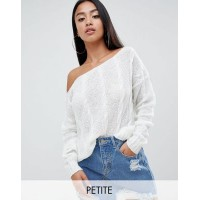 Missguided Petite Off Shoulder Cable Knit Jumper Welcome to the cosy life 1289247 IOPJZLV