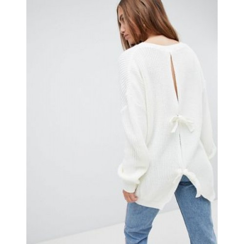 PrettyLittleThing Open Back Tie Detail Jumper Welcome to the cosy life 1320865 WGHRNEC