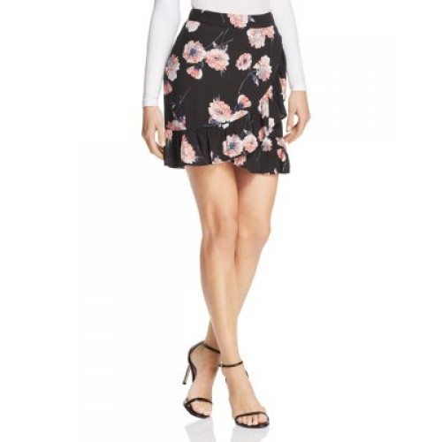 Cotton Candy LA Floral Print Faux-Wrap Skirt Concealed side zip with hook-and-eye closure 2806731 KPRSTTZ