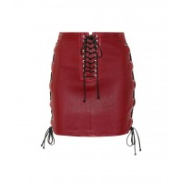 Unravel Lace-up leather skirt material 100% leather P00334288 ZWXKELE