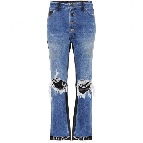 Amiri Leather-trimmed cropped jeans material 100% cotton P00289265 FJABYFF