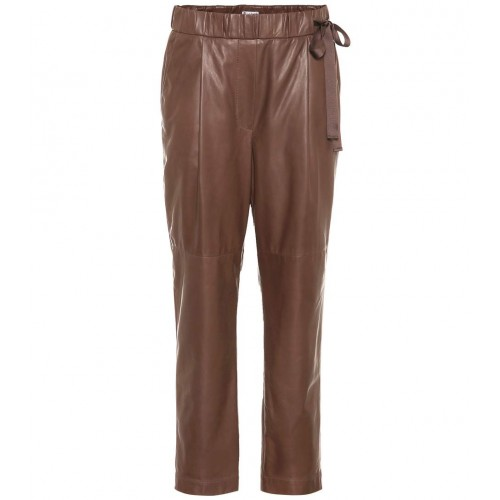 Brunello Cucinelli Cropped leather pants material 100% lamb leather P00326156 RLXUFIZ
