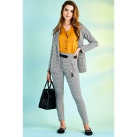 Women Clothing PRINCE OF WALES CHECK ZIP TROUSER  S048/1103/008_GREY DJISYNY