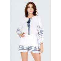 Women Clothing X STITCH EMBROIDERED LONG SLEEVE PLAYSUIT  S047/1104/016_IVORY RJFQRRJ